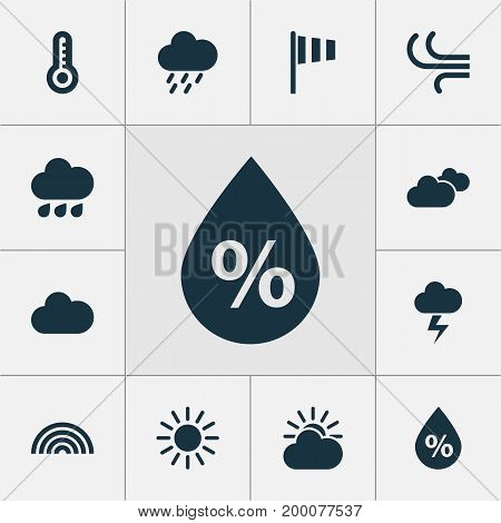 Air Icons Set. Collection Of Temperature, Flag, Moisture And Other Elements