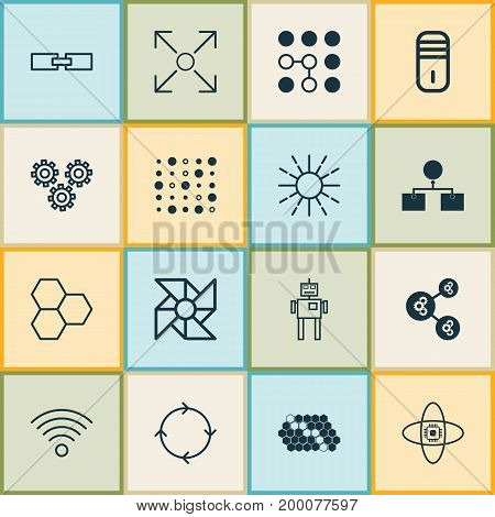 Machine Icons Set. Collection Of Algorithm Illustration, Mainframe, Mechanism Parts And Other Elements