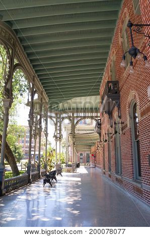 Outside of the Plant Hall of University of Tampa in Tampa, Florida, United States, April 28, 2017