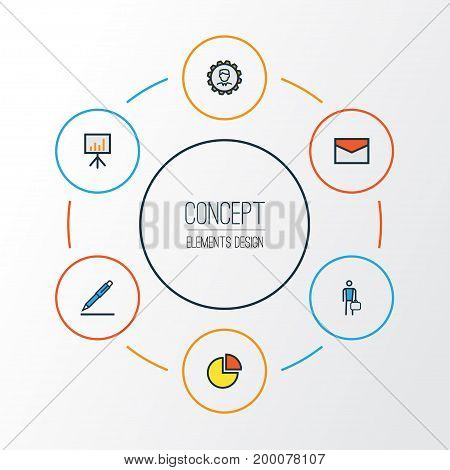 Trade Colorful Outline Icons Set. Collection Of Pencil, Worker, Administrator And Other Elements