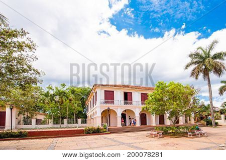 City square in Vinales Pinar del Rio Cuba. Copy space for text