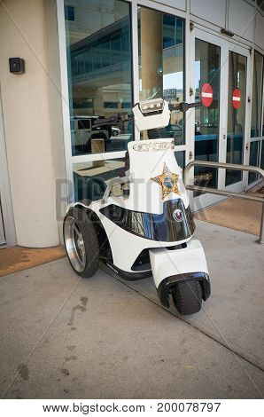 Three-wheeled scooters for Parking enforcement, Hillsborough County Sheriff's office in front of the Thirteenth Judicial Circuit Court.