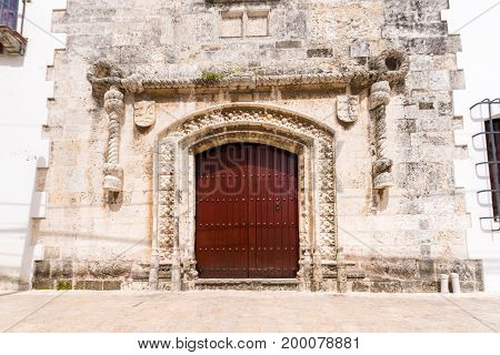 View of the door Casa del Cordon Santo Domingo Dominican Republic. Copy space for text