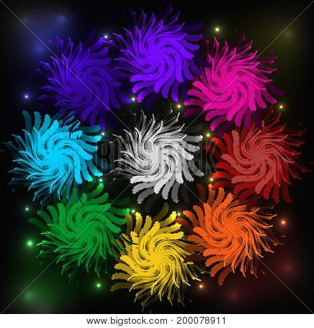 Abstract background color swirl dark circle festive