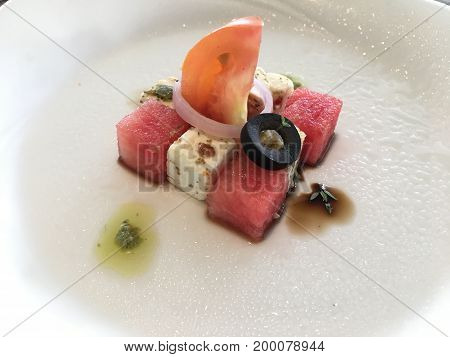 watermelon and feta cheese modern cubic salad with tomato