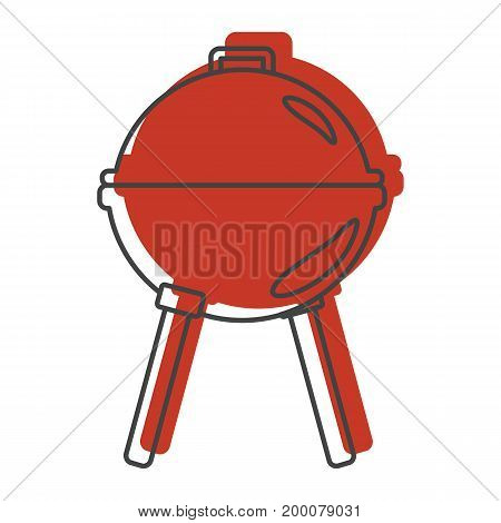 Red grill icon in doodle style. Illustration of grill vector icon isolated on white background for web labels  and advertising