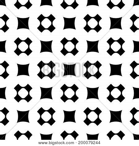 Vector seamless pattern, simple geometric texture with rounded shapes, squares, perforated crosses in staggered array. Stylish abstract minimalist background. Design element for prints, decor, fabric.