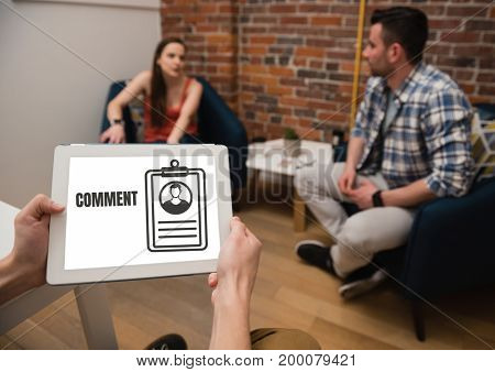Digital composite of Comment text and graphic on tablet screen with people