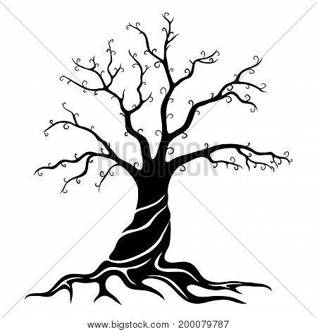 Black tree sign on a white background.