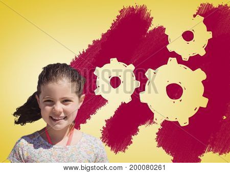 Digital composite of Girl in front of settings gear cogs