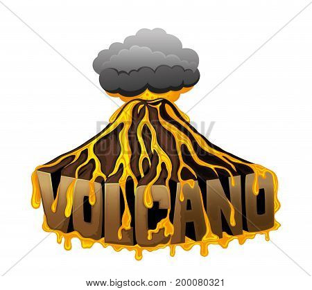 Beautiful volcano sign on a white background.