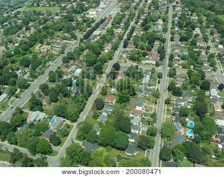 Aerial view of residential area in summer time Ontario Canada