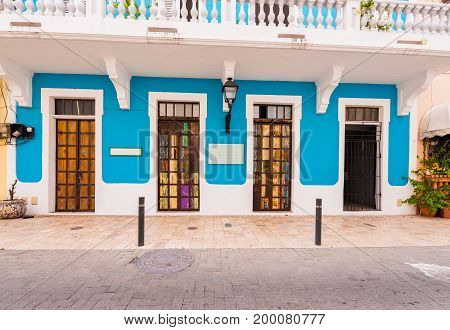 View of the bright building Santo Domingo Dominican Republic. Copy space for text