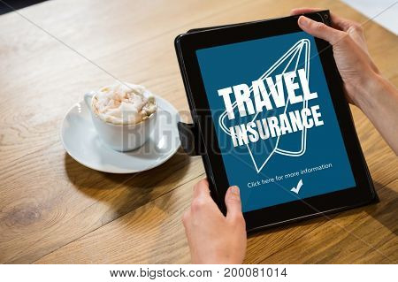 Digital composite of Person using a tablet with travel insurance concept on screen