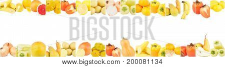Lines from different yellow vegetables and fruits isolated on white