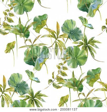 Watercolor illustration of leaf seamless pattern on white background