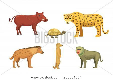 African animals vector set.elephant, rhino, giraffe, cheetah, zebra, hyena, lion, hippo, crocodile, gorila and outhers. Isolated illustration