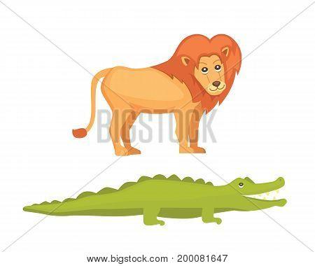 lion and crocodile savanna animals in cartoon style.