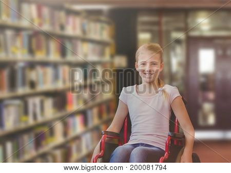 Digital composite of Disabled girl in wheelchair in school library