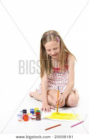 Girl With Brush On White Background