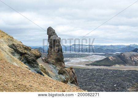View on the beautifully colored mountain, Brennisteinsalda, Iceland.