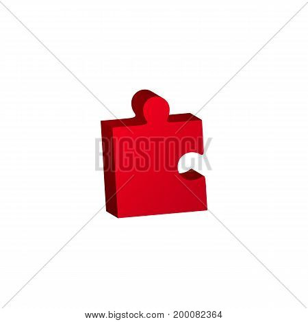 Red jigsaw puzzle vector, blank simple template, icon isolated on white background