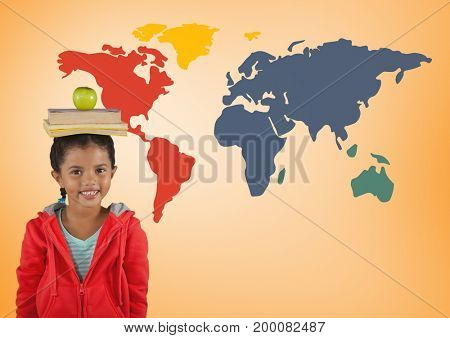 Digital composite of Schoolgirl holding books on head in front of colorful world map