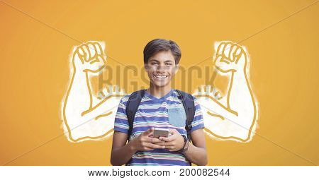 Digital composite of Happy student boy with fists graphic using a phone against yellow background