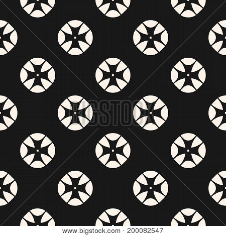 Vintage Seamless Pattern With Stylized Floral Geometric Shapes Abstract Monochrome Geometrical Background Simple Retro
