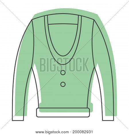 Green jacket in doodle style icons vector illustration for design and web isolated on white background. Green jacket object for labels and logo