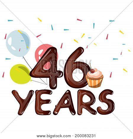 Anniversary Banner Celebration 46 Years. Vector illustration