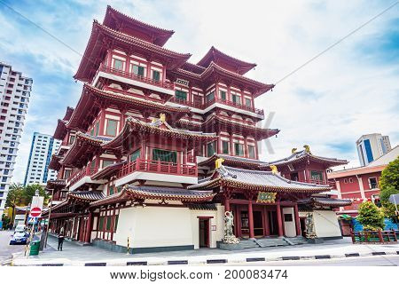 Singapore - Nov 22, 2016: The Buddha Tooth Relic Temple And Museum, With Tang Dynasty Architectural
