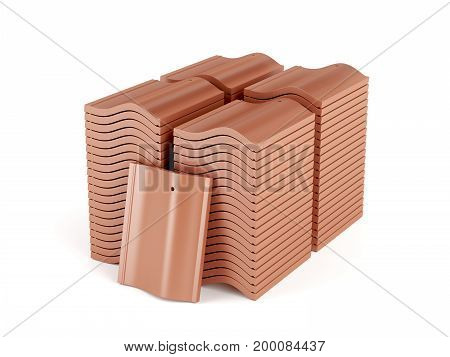 Stacks with roof tiles on white background, 3D illustration