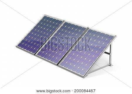 Solar panels on white background, 3D illustration