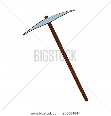 pickaxe tool for work with stone vector illustration