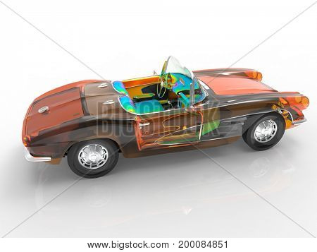 Generic and vintage model of car 3d rendering