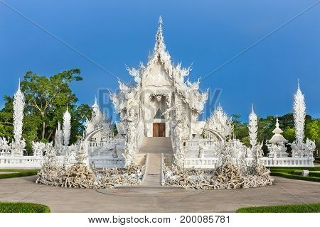 Abstract White Temple Wat Rong Khun  In Chiang Rai Province, Northern Thailand