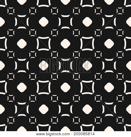 Funky geometric pattern. Vector seamless texture with simple geometrical shapes, circles, outline squares, curved lines. Abstract monochrome background, repeat tiles. Design for decor, fabric, covers.