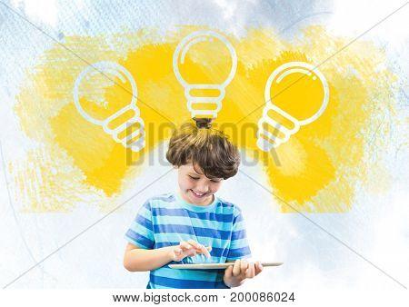 Digital composite of Boy on tablet under light bulbs