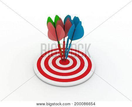 darts concept . success  . 3d rendered illustation