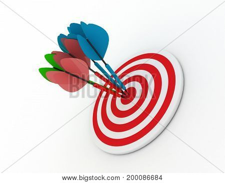 darts concept success  . 3d rendered illustation
