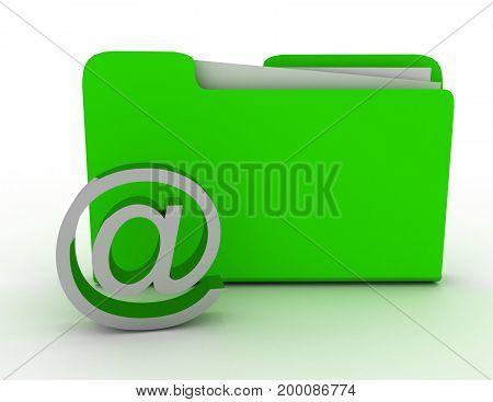 email sign and folder . 3d rendered illustation