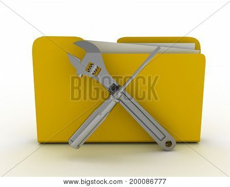 Yellow folder Screwdriver and Wrench . 3d rendered illustation