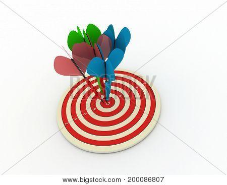 darts concept success .  . 3d rendered illustation