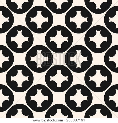Vector geometric seamless pattern with carved circular shapes, crosses. Tiling texture. Abstract monochrome background, repeat tiles. Square design element for decor, ceramic, textile, manufacturing.