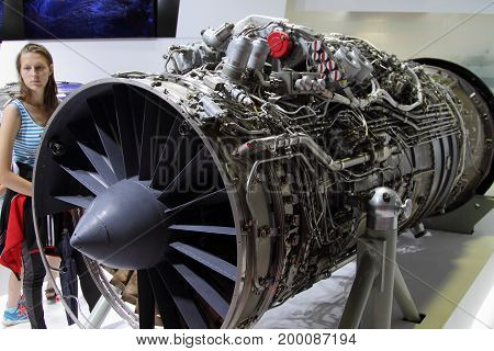 Moscow Region - July 21 2017: Aviation high-temperature turbojet dual-circuit engine AL-41F-1S at the International Aviation and Space Salon (MAKS) in Zhukovsky.