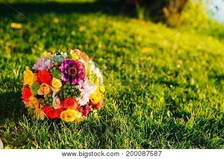 Wedding Flowers, Bridal Bouquet Closeup. Decoration Made Of Decorative Flowers, Close-up, Selective