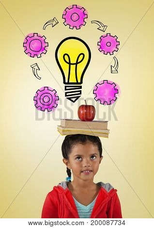 Digital composite of Girl with books on head and light bulb cogs graphics