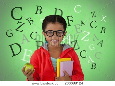 Digital composite of Many letters around Girl with apple and books in front of green background