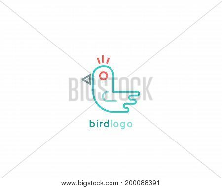 Bird minimalistic logo design in flat style. Stock vector